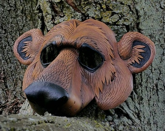 Leather Brown Bear Mask