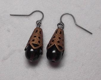 Dark Purple Glass Drop Earrings