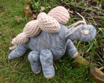 """Ready To Ship: Hand knitted Dinosaur """"Archie, My Rocking Stegoasaurus!"""""""