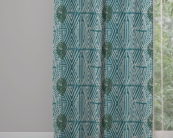Tribal Marks Print Drapery Window Curtain Panel - Blue/Green - Free Shipping