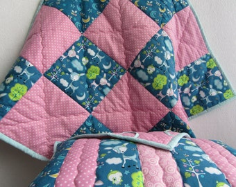 Set: Patchwork baby blanket + pillow (minky baby blanket)