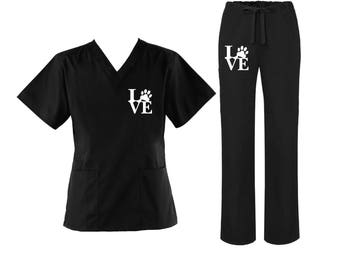 Love you pet scrub top and pants set