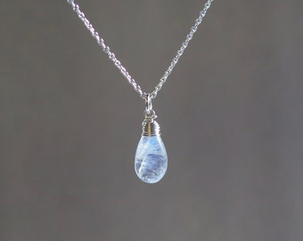 Rainbow Moonstone Necklace • June Birthstone • Sterling Silver or Gold Filled • Natural Moonstone Necklace - Moonstone Drop