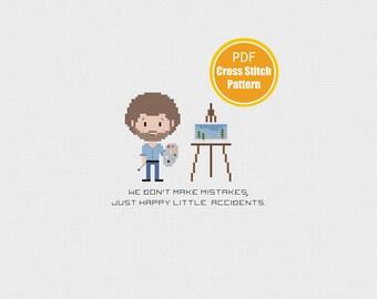 Bob Ross Cross stitch - PDF Instant Download - Cross stitch pattern - Art