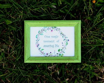 Lime green Frame - Wedding Frames, Shabby Chic Rustic Picture Frames