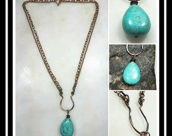 Hammered Copper Turquoise Artisan Necklace/Patina or Bright Copper/Turquoise  Necklace