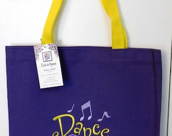 "Tote bag - perfect as a book bag, Bible bag, a music or dance bag, or gift bag - purple tote embroidered with ""Dance"" in yellow"