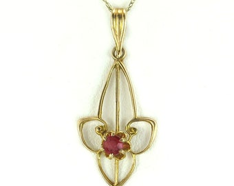 Genuine ruby pendant etsy antique estate art deco 10k yellow gold lavaliere 10ct genuine ruby pendant 05g mozeypictures Gallery