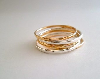 SkINNy StAcK... StErLiNG SiLVeR aNd GoLd FiLLeD StAcKiNg RiNgS