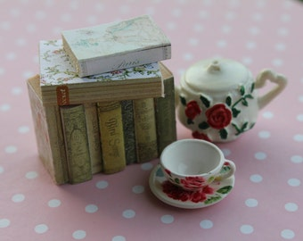 Dollhouse miniature shabby and romantic stack of  9 books