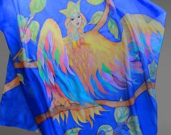Hand painted silk scarf Bird of Joy. Square silk scarf. Royal blue silk scarf. 35x35 in (90x90 cm). Ready to ship.