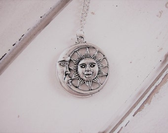 Sun moon pendant necklace - metal sun moon jewelry - metal sun moon face pendant - silver chain necklace - fantasy astronomy jewelry