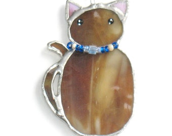 Stained glass cat ornament Christmas tree ornament, sun catcher window hanging, handmade glass art, home decor.  Gift for cat lover, friend.