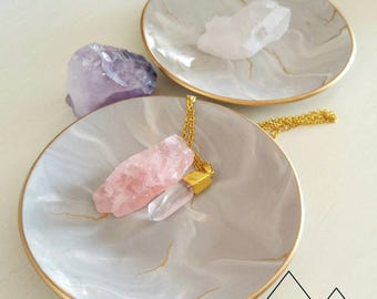 Grey marble jewelry dish, Custom made, ring dish