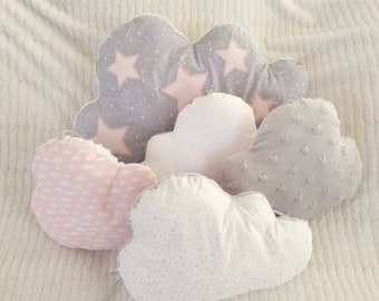 Baby shaped cloud, pink, grey and white bumper for pre-order
