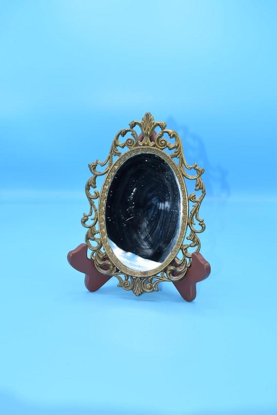 Italy Gold Framed Mirror Vintage Small Ornate Italian Wall Decor Hanging Oval Mirror Hollywood Regency Italy Vanity Dresser Mirror