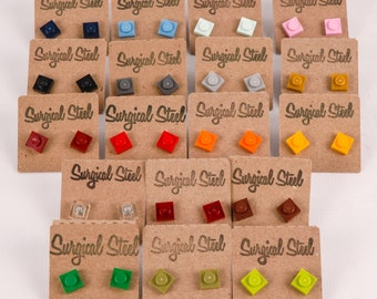 Single pair of square surgical steel earrings made from LEGO® elements