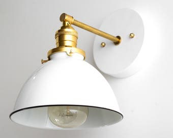 Industrial Sconce - Bathroom Wall Light  -  White Sconce - Brass Fixture - Hallway Lamp