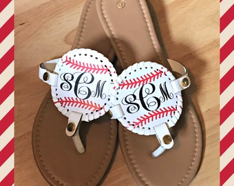 Baseball Sandals - Monogram Baseball Sandals - Baseball flip flops - Love Baseball