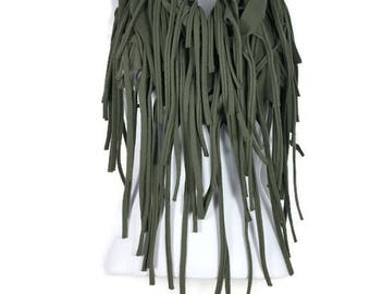 Fringe Scarves Cotton Fringed Scarves Army Green Fringe Scarves Olive Green Cotton Infinity Scarf with Fringe Military Fringe Scarves