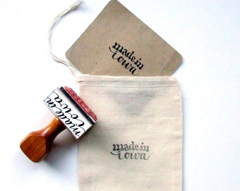 Made in Iowa Rubber Stamp, Hand Lettered Stamp, Modern Calligraphy, Shop Packaging, Made in your State