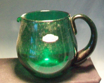 Blenko Forest Green Pitcher With Original Tags