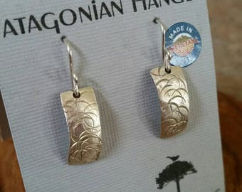 FREE SHIPPING. Fine Silver (.999) hand hammered hand sawed, simple, elegant, everyday esrrings.