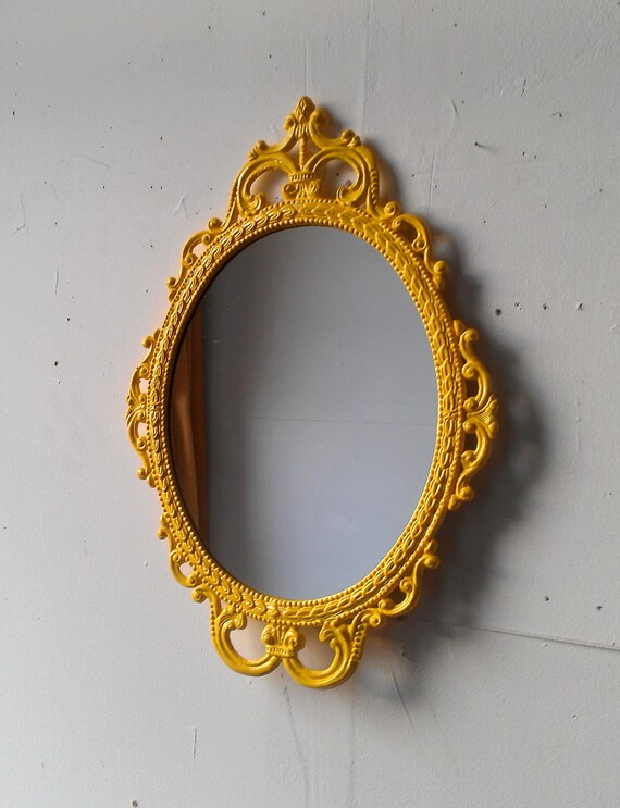 Yellow Mirror in 17x12 Inch Decorative Vintage Metal Frame