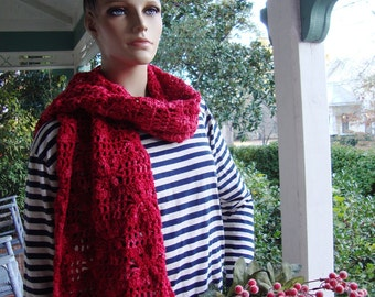 Merino Wool Scarf, Crochet Scarf, Red Scarf, Red Scarves, Crochet scarves, Crocheted Scarves, Women's Scarves, Women's Gift, Gift for Her
