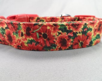 Dog Collar Red Hot Summer Flowers