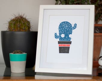 A5 Cactus Lino Print Hand printed