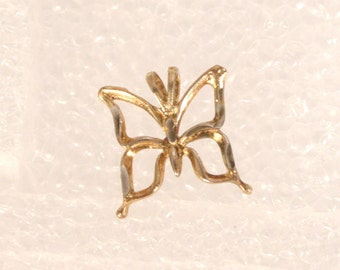 Vintage Gold Butterfly Charm Gold Plated Sterling Small Butterfly Pendant