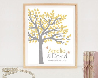 Personalized Wedding Tree Chalkboard Guest Book - Printable Poster - Anniversary Gift - 100 signatures - DIGITAL FILE!