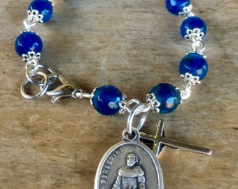 Prayer bracelet in blue agate gemstone beads with your choice of Saint medallion