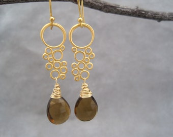 Quartz  Earrings - Golden Brown Beer Quartz - Faceted Stone - Drops - Dangle Earrings -  Bubbles and Beer - Brown - Earrings