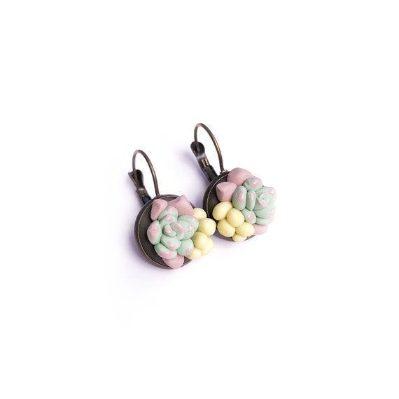 Succulent Dangle Earrings - beautiful handmade polymer clay jewellery by Clay & Clasp