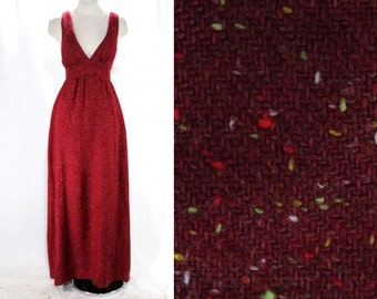 Size 8 Tweed Dress - 1970s Maroon Flecked Jumper - Sleeveless Bodice - V Neck - Racer Back - Cute Fall Style - 70s Deadstock - 47336-4