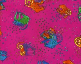 Laurel Burch Fabric Jungle Soul Flannel Pink w Bright Monkeys 1 Yard