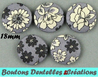Covered buttons rustle - small flowers - 18mm - (18-33)