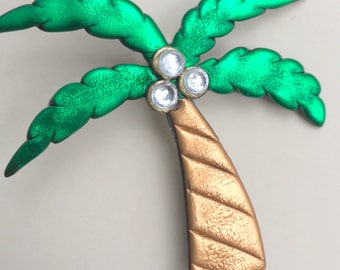 Tropical Palm with coconuts Tree Pin brooch