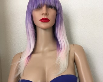 Pastel wig 16 inch long with bangs straight heat resistant