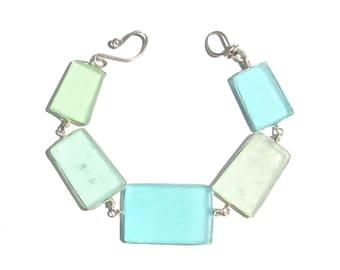 Aqua Seaglass Bracelet/ Necklace