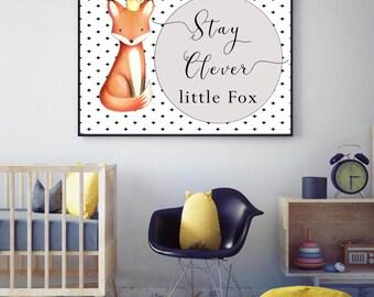 Woodland animal nursery prints, fox print, nursery wall art, woodland animal, wall art, nursery decor