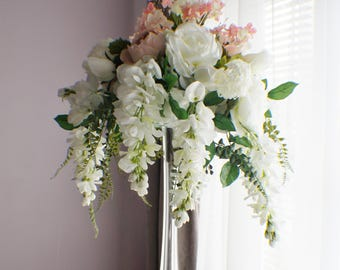 Wedding centerpieces etsy extra large wedding centerpiece cascading centerpiece silk wedding flowers roses fern junglespirit Gallery