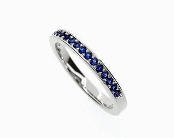 Blue sapphire ring, White gold, thin wedding band, sapphire band, eternity ring, blue wedding, wedding band