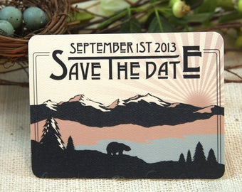 Rocky Mountains Blue and Pink Save the Date Postcard