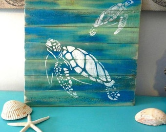 Sea Turtle Pallet Wood Art, Reclaimed Wood Art, Ocean Art, Marine Art,
