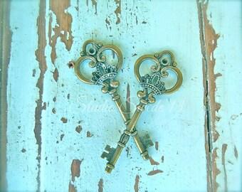 """Key Art, Shabby Cottage Chic, Old Key Photo, Rustic Aqua Wall Decor, Cottage Farmhouse Art, Turquoise Weathered Peeling Paint- """"Royal Keys"""""""
