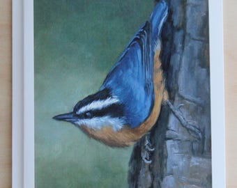 Nuthatch - Red breasted nuthatch - nuthatch notecard - bird card - songbird - bird painting - paper goods - thank you notes