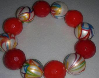 Rainbow chunky bead bracelet